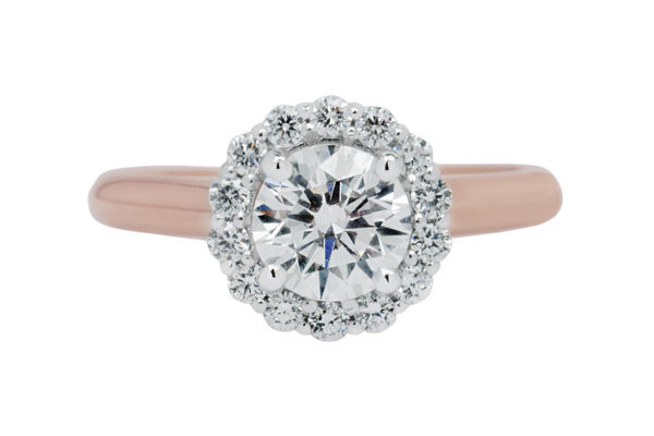 18 ct rose gold claw set round brilliant cut centre halo engagement ring by Kalfin Jewellery thumb