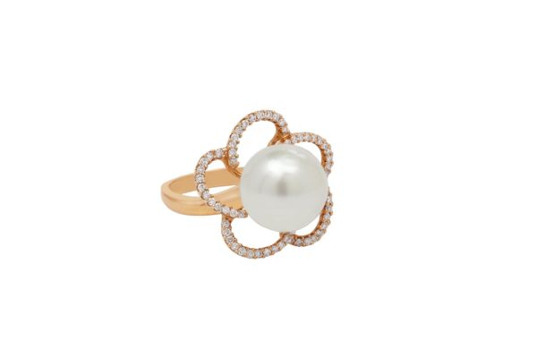 18 ct rose gold diamond flower with pearl dress ring by kalfin jewellery