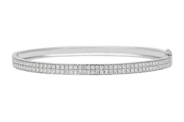 18 ct wg 2 row diamond grain set hinged bangle by kalfin jewellery