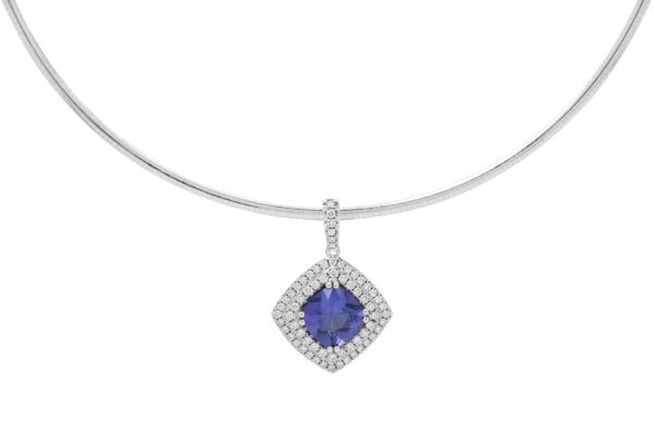18 ct wg blue sapphire double halo pendant by kalfin jewellery