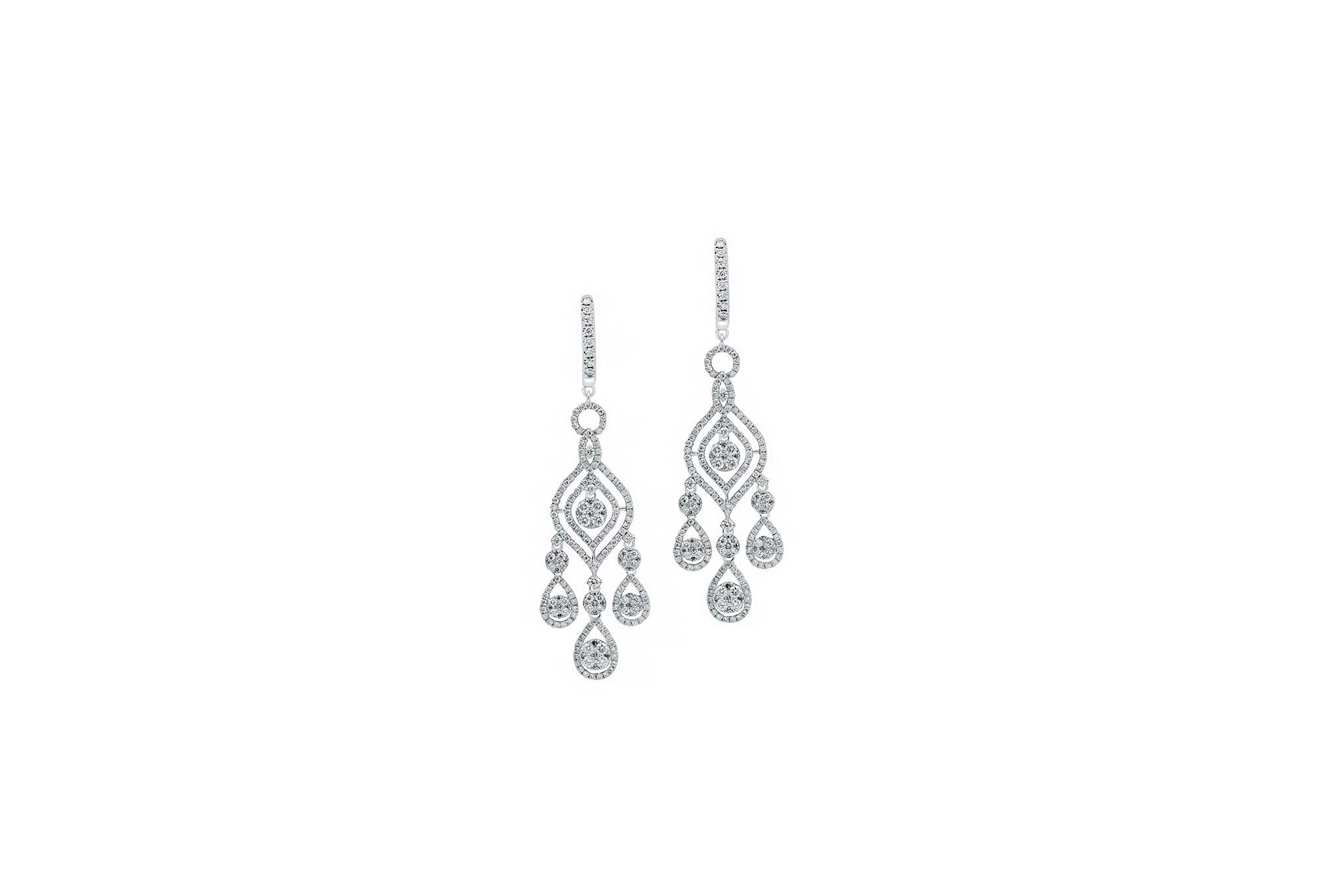 18 Ct Wg Chandelier Diamond Earrings Custom Made By Kalfin Jewellery