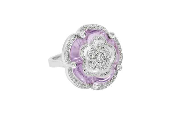 18 ct wg custom design amethyst and diamond dress ring by kalfin jewellery