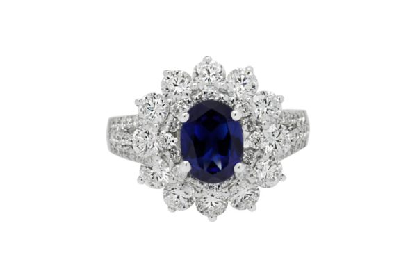 18 ct wg diamond and blue thai sapphire coctail ring custom design by kalfin jewellery