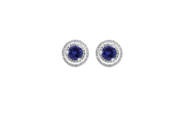 18 ct wg double diamond halo earring studs with sapphires by kalfin jewellery