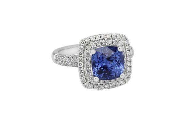 18 ct wg double halo ceylon sapphire custom design ring by kalfin jewellery