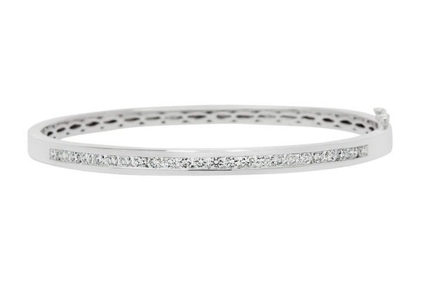 18 ct wg rbc diamond channel set hinged bangle by kalfin jewellery