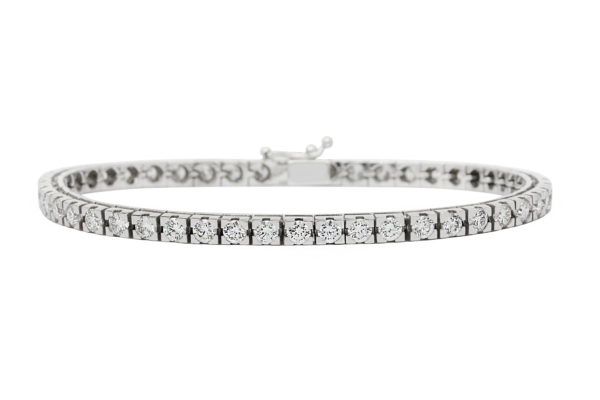 18 ct wg round brilliant cut diamond tennis bracelet by kalfin jewellery
