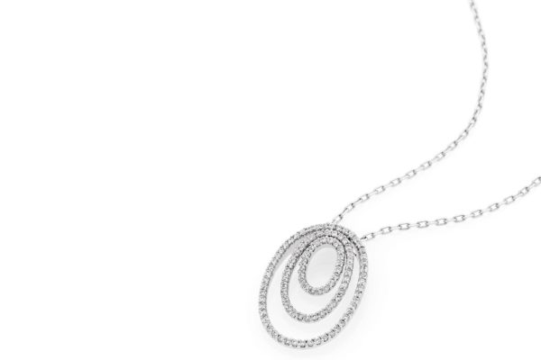 18 ct wg three circles diamond pendant by kalfin jewellery