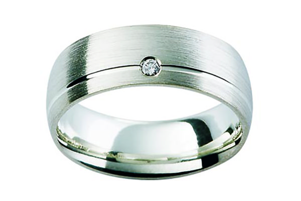 18ct white gold half round band round diamond centre gets ring by kalfin jewellery