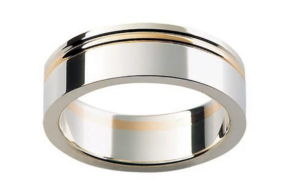 18ct 2 tone gold custom design plain gents ring by kalfin jewellery