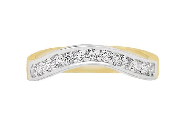 18ct 2 tone gold grain set top half diamond band by kalfin jewellery
