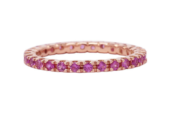 18ct pink gold all the way around round brilliant cut pink sapphire eternity ring by kalfin jewellery