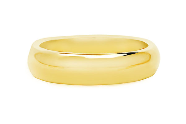 18ct yellow gold half round plain band by kalfin jewellery