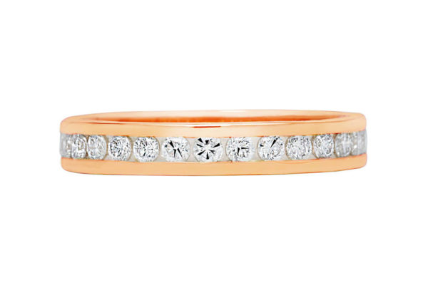 18ct pink gold round diamond all the way around channel set wedding band by kalfin jewellery