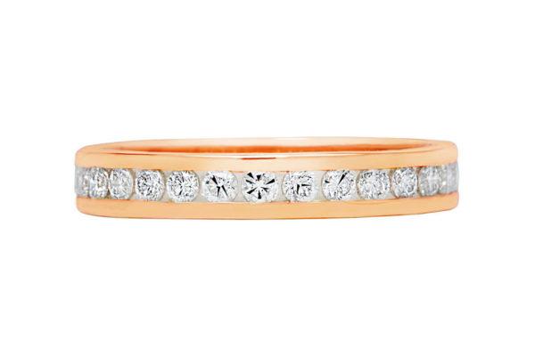 18ct pink gold round diamond all the way around channel set wedding band by kalfin jewellery