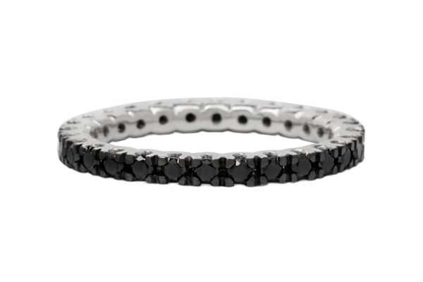 18ct white gold all the way around round brialliant cut black diamond eternity ring by kalfin jewellery