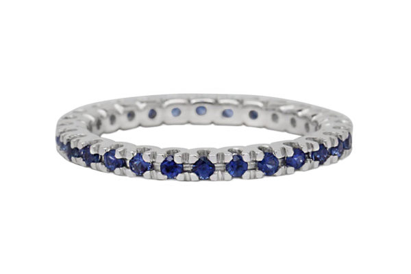 18ct white gold all the way around round brilliant cut blue sapphire eternity ring by kalfin jewellery