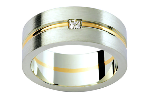 18ct white gold and yellow gold plain gents ring princess cut diamond centre by kalfin jewellery