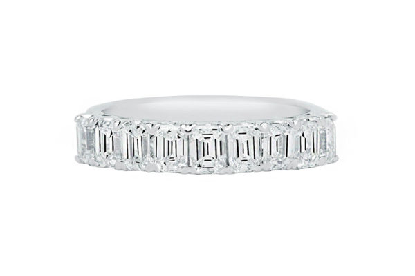 18ct white gold claw set top half baquette diamond wedding band by kalfin jewellery