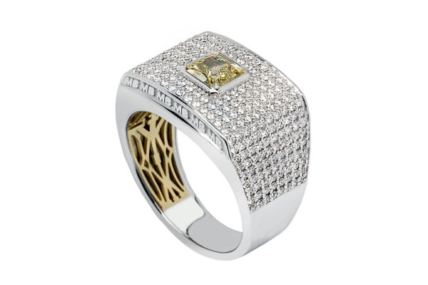 18ct white gold custom design diamond gents ring cushion cut yellow diamond centre by kalfin jewellery