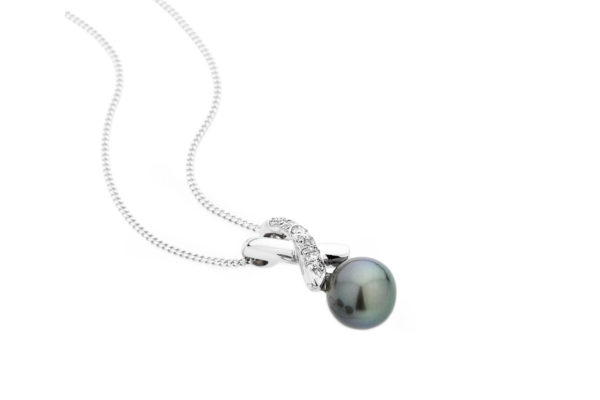18ct white gold custom design diamond pendant with round black tahitian pearl by kalfin jewellery