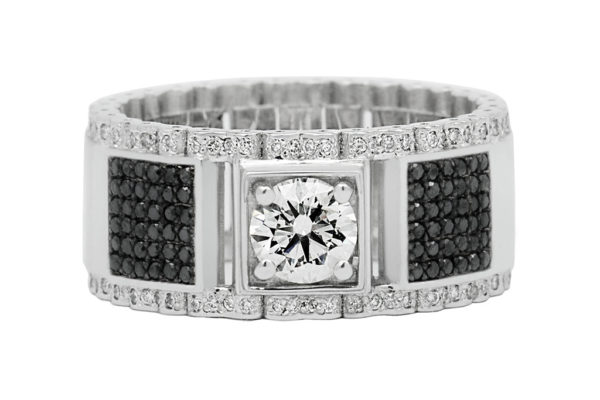 18ct white gold custom design gents ring with black diamond and white diamond by kalfin jewellery