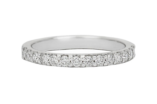 18ct white gold cut claw setting top half diamond custom design wedding band by kalfin jewellery