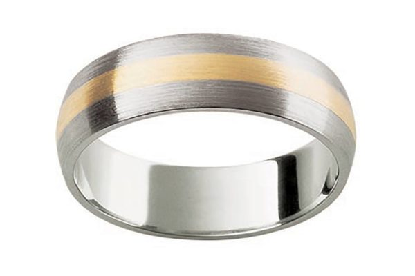 18ct white gold half round matt finish custom design gents wedding band by kalfin jewellery