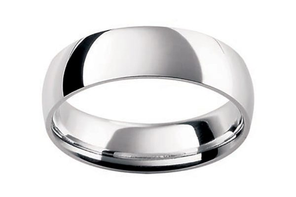 18ct white gold half round plain gents ring by kalfin jewellery