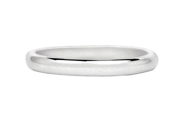 18ct white gold half round thin plain band by kalfin jewellery