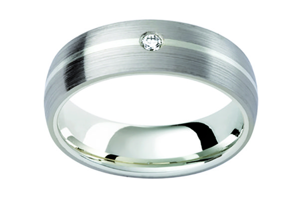 18ct white gold matt finish plain gents ring round diamond centre by kalfin jewellery