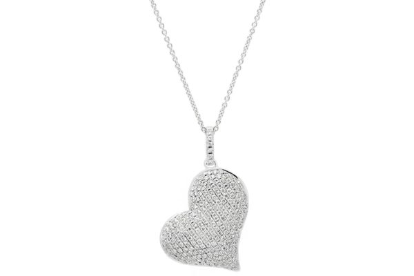 18ct white gold pave setting diamond heart pendant with white gold chain by kalfin jewellery