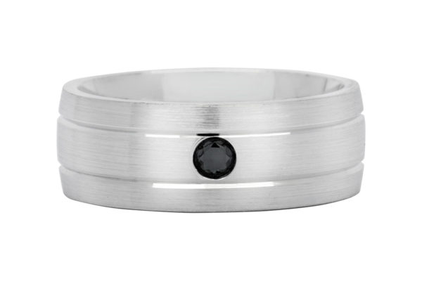 18ct white gold plain gents ring round black diamond centre by kalfin jewellery