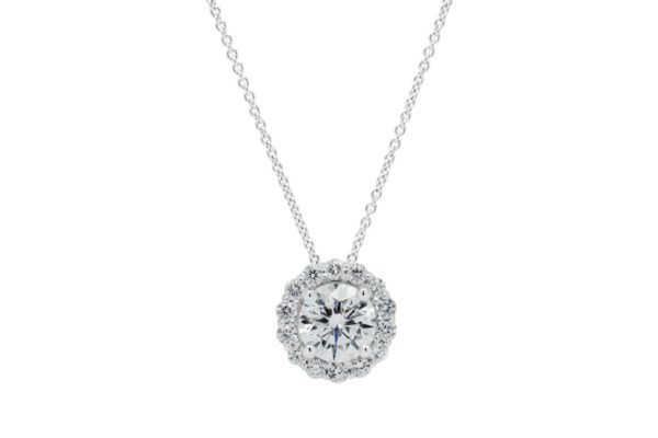 18ct white gold rbc centre halo pendant by kalfin jewellery