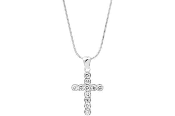 18ct white gold round diamond cross with white gold chain by kalfin jewellery