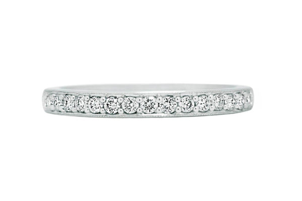 18ct white gold top half diamond grain set wedding band by kalfin jewellery