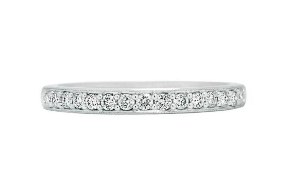18ct white gold top half diamond grain set wedding band by kalfin jewellery