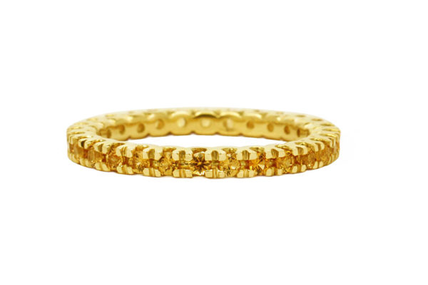 18ct yellow gold all the way around round brilliant cut yellow sapphire eternity ring by kalfin jewellery