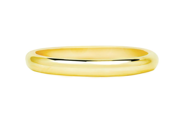18ct yellow gold half round thin plain band by kalfin jewellery