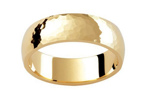 18ct yellow gold hammer finish plain gents ring by kalfin jewellery