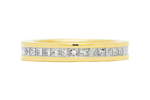 18ct yellow gold princess cut diamond wedding band by kalfin jewellery