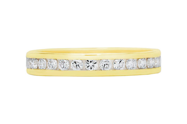 18ct yellow gold round diamond all the way around channel set wedding band by kalfin jewellery