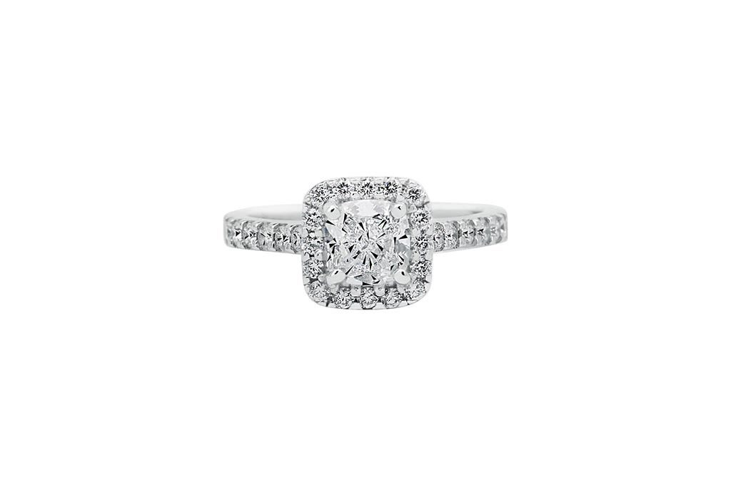 Photo Of Halo Diamond Betrothal Ring
