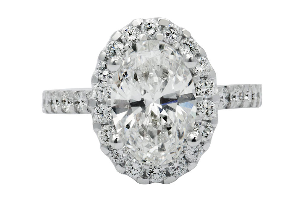 Oval Cut Centre Diamond Halo