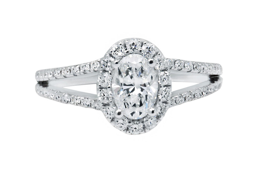 Platinum Claw Halo Engagement Ring