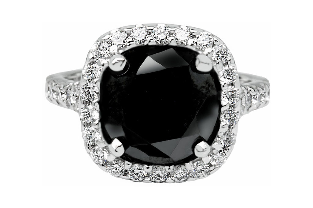 Platinum Cushion Cut Black Diamond