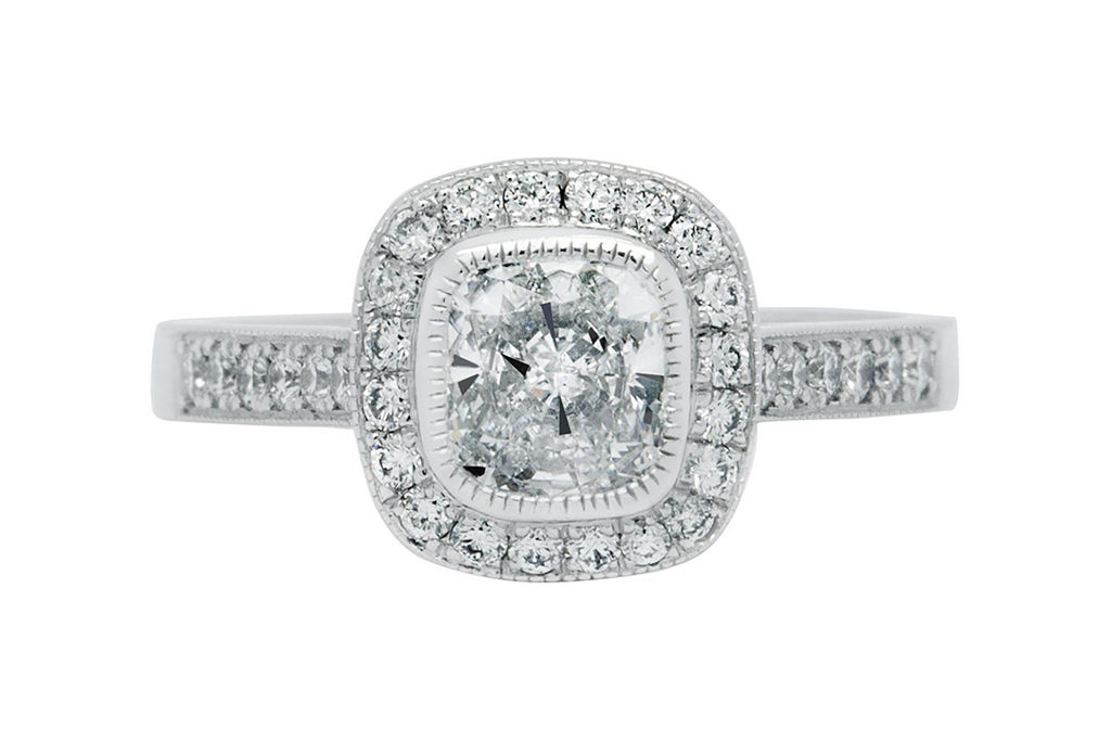 Platinum Cushion Halo Proposal Ring