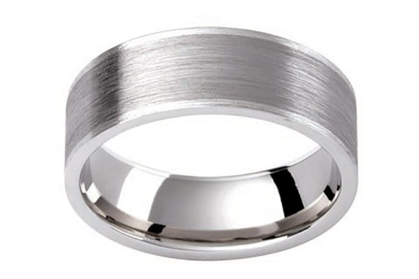 platinum gents ring flat look matt finish custom made wedding band by kalfin jewellery