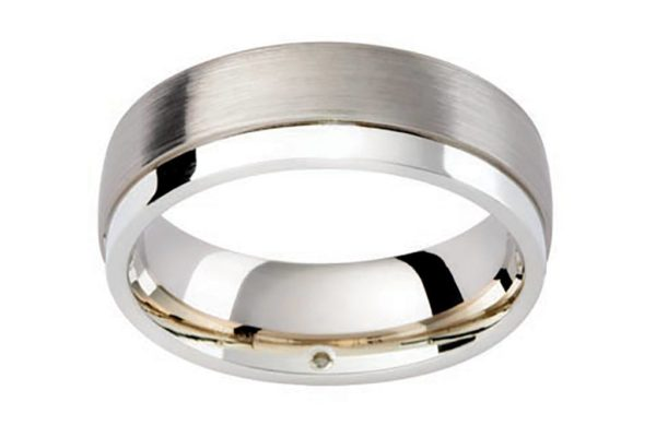 platinum custom design half round matt finish plain gents ring by kalfin jewellery