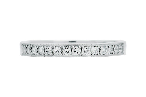 platinum round diamond all the way around grain set wedding ring by kalfin jewellery